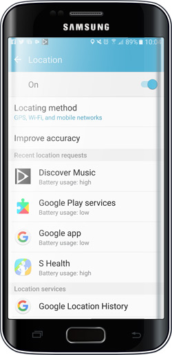 Android Settings App - Location Services