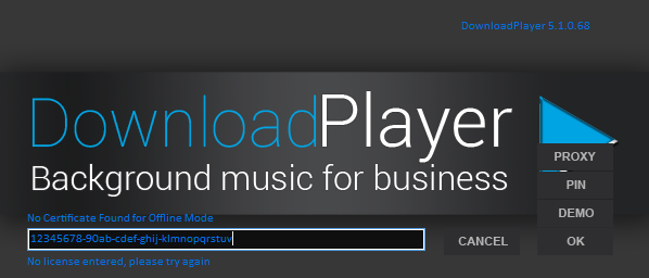 Download Player - Licence Key Authorisation Screen